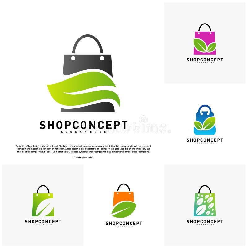 Fije de la tienda Logo Design Concept de la naturaleza Centro comercial con la hoja Logo Vector Símbolo de la tienda y de los reg ilustración del vector