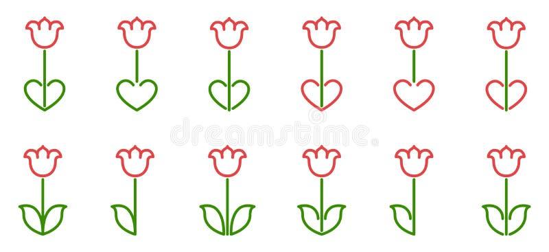 Fije de la variación de tulipanes con el corazón, adorno popular con la línea arte coloreada verde y roja Dise?o del icono del ve stock de ilustración