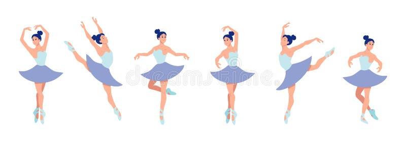 Fije de las bailarinas de baile en estilo plano aisladas en el fondo blanco Carácter de la bailarina de la historieta con diversa stock de ilustración