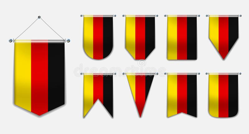 Fije de las banderas colgantes de la ALEMANIA con textura de la materia textil Banderín vertical de la plantilla para el fondo, b ilustración del vector