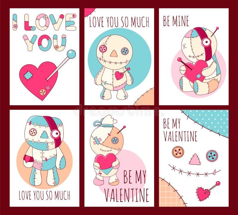 Fije de las banderas del día de tarjeta del día de San Valentín con las muñecas lindas del vudú ilustración del vector