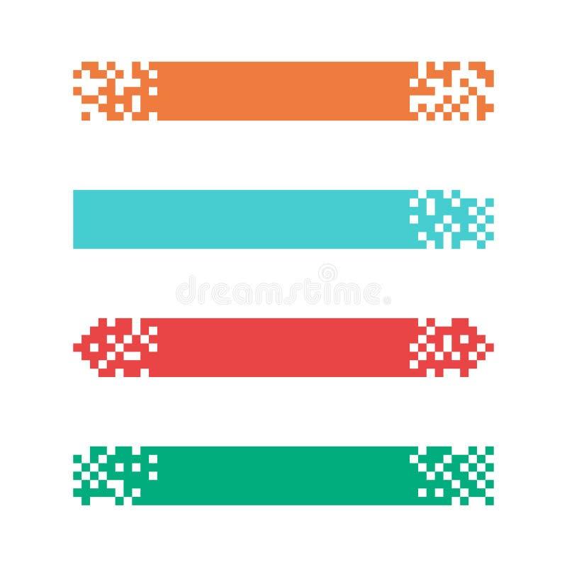 Fije de las banderas modernas coloreadas del pixel para los jefes Banderas listas para su texto o diseño ilustración del vector
