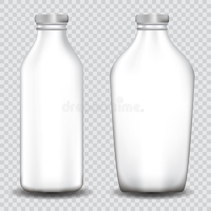 Fije de las botellas blancas aisladas en transparente stock de ilustración