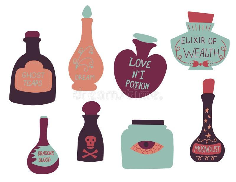 Fije de las botellas de la historieta y de las pociones de amor mágicas coloridas Ilustración del vector Colección exhausta de la ilustración del vector