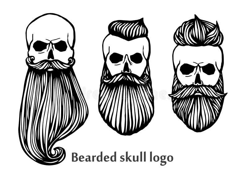 Fije de las cabezas del cráneo del inconformista con las barbas Garabato a mano Ejemplo del vector - vector común Historieta dibu libre illustration