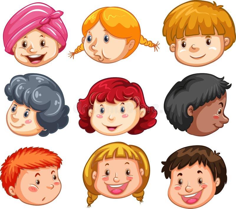 Fije de las cabezas de la gente ilustración del vector