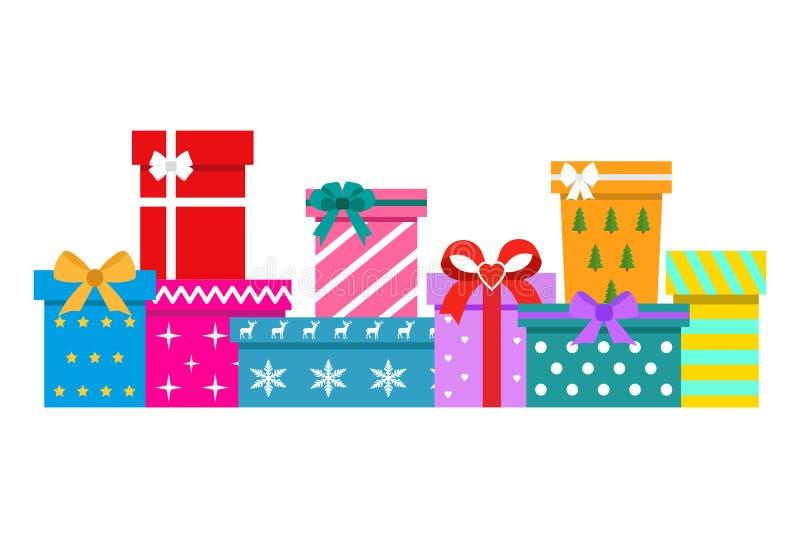 Fije de las cajas de regalo en un fondo blanco ilustración del vector