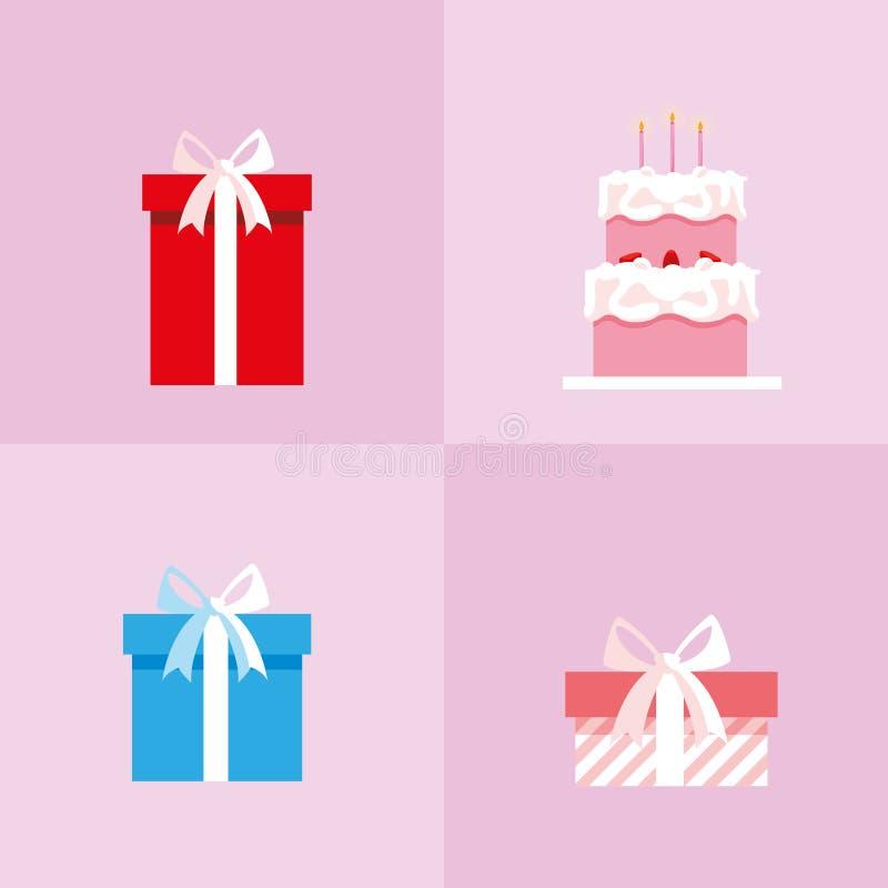 Fije de las cajas de regalos y de la torta dulce libre illustration