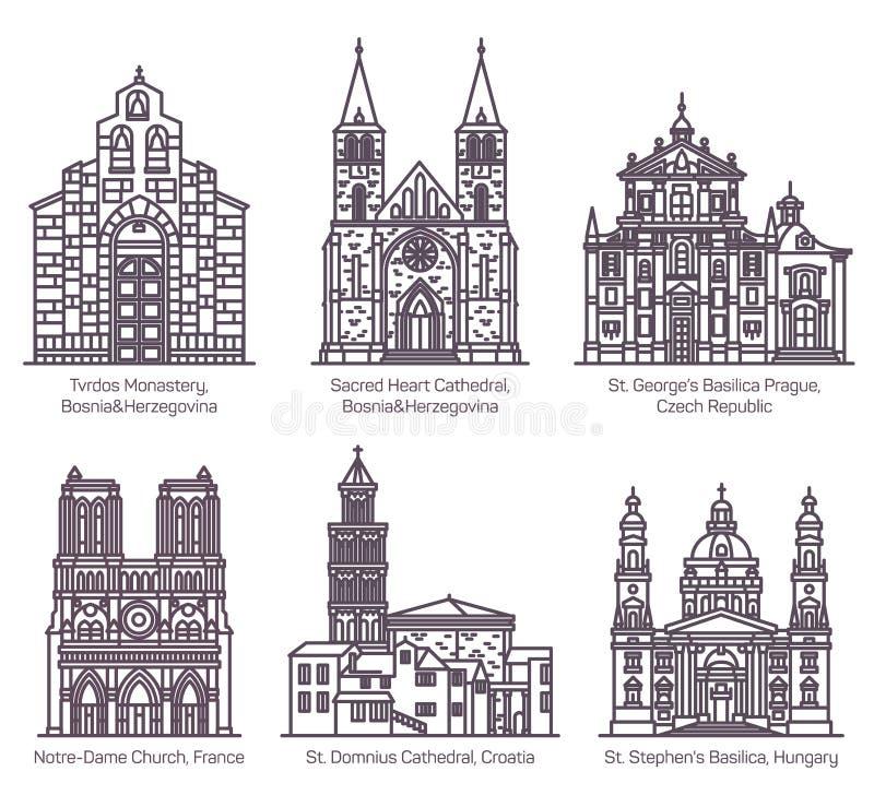 Fije de las catedrales y de la iglesia aisladas, basílica libre illustration