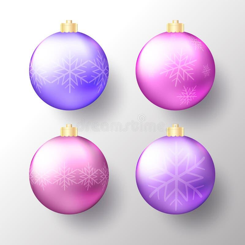 Fije de las chucherías de la Navidad realista o del Año Nuevo, de las esferas o de las bolas transparentes en colores púrpuras br ilustración del vector