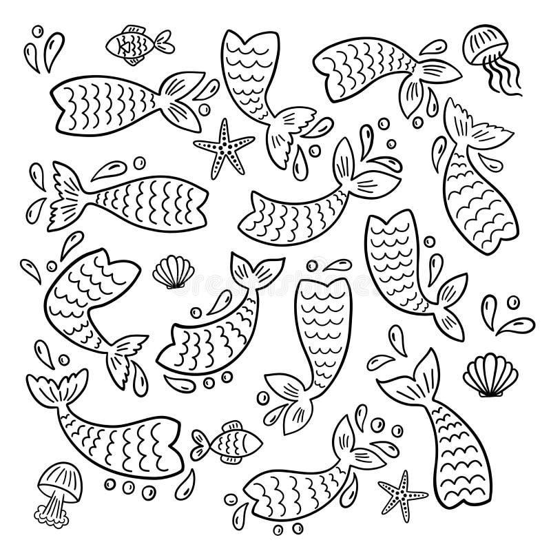 Fije de las colas de la sirena, pescados, estrellas de mar, cáscaras, siluetas de las medusas stock de ilustración