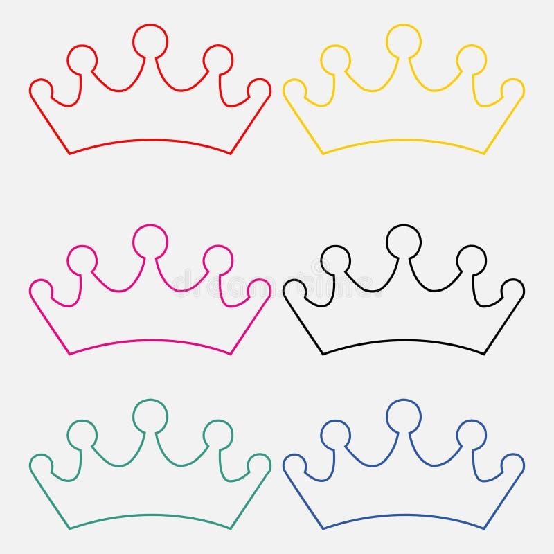 Fije de las coronas de la princesa aisladas en el fondo blanco stock de ilustración