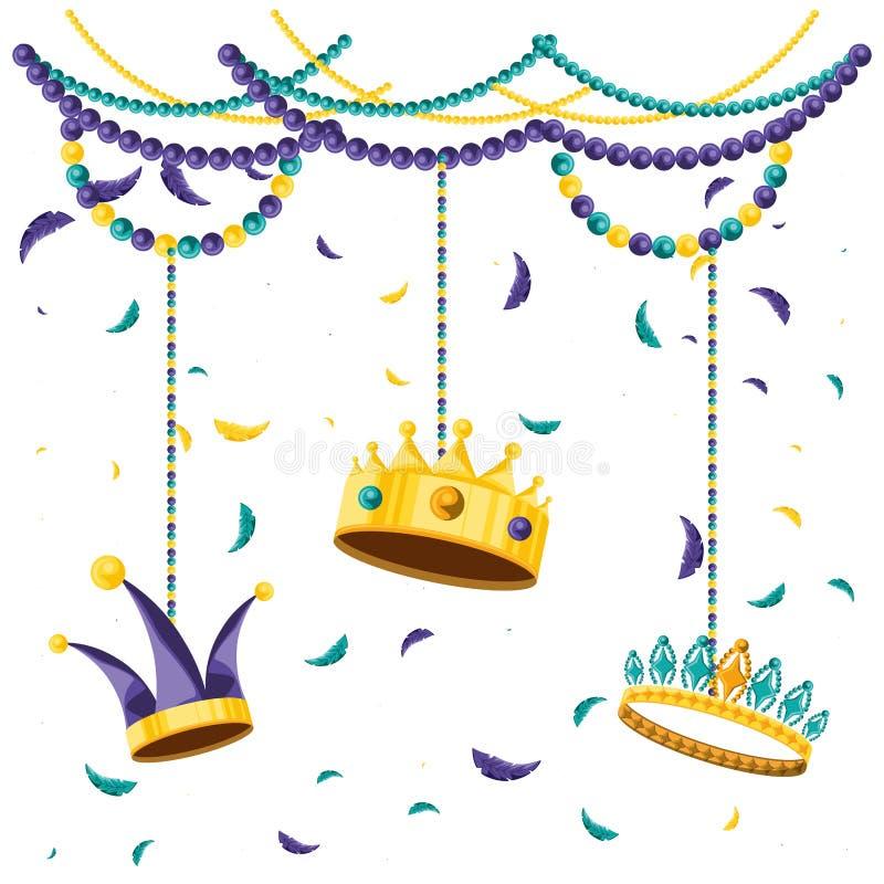 Fije de las coronas para el carnaval del partido libre illustration