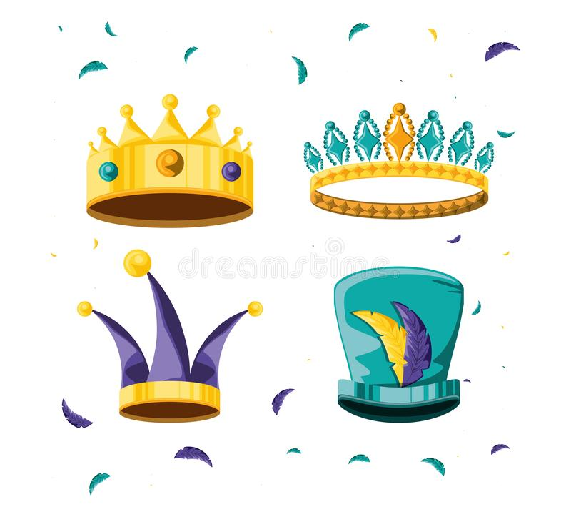 Fije de las coronas para el carnaval del partido ilustración del vector