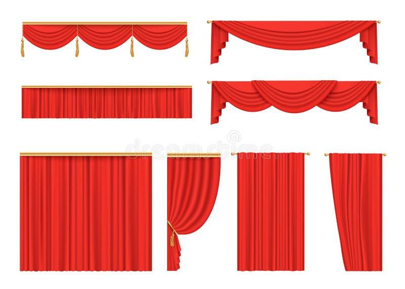 Fije de las cortinas rojas del terciopelo para la etapa del teatro libre illustration