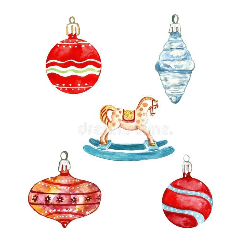 Fije de las decoraciones festivas del árbol de navidad de los mediados de siglo, chucherías de cristal rojas ornamento y caballo  stock de ilustración