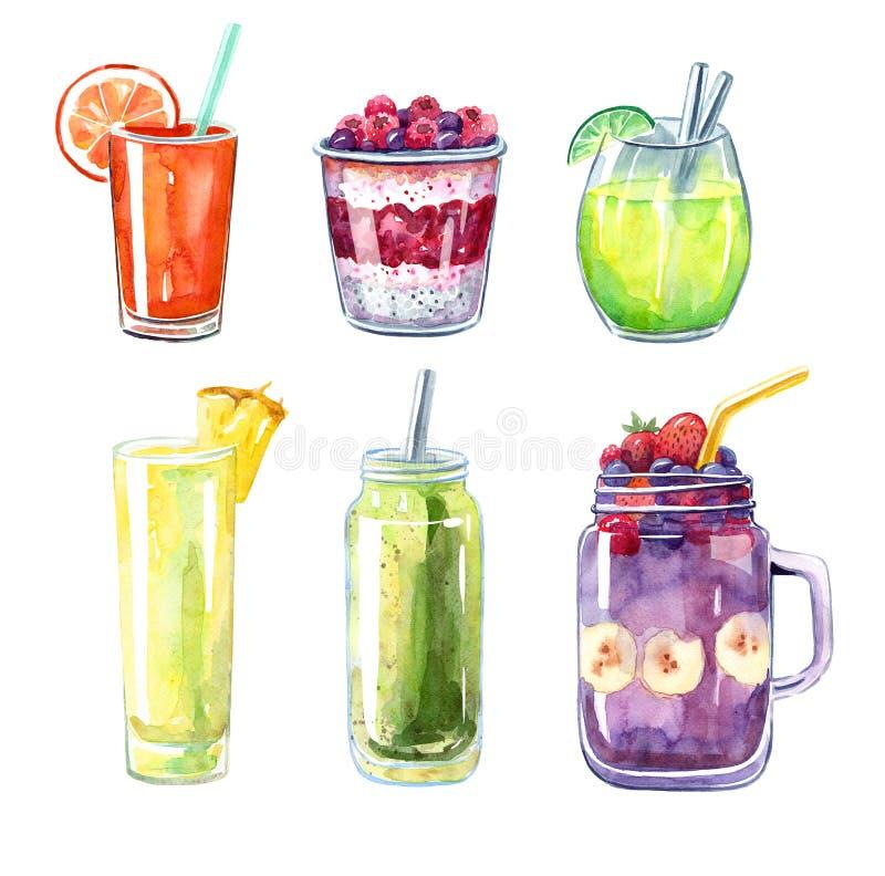 Fije de las diversos bebidas, cócteles de la acuarela, jugo y smoothies, ejemplo aislado stock de ilustración