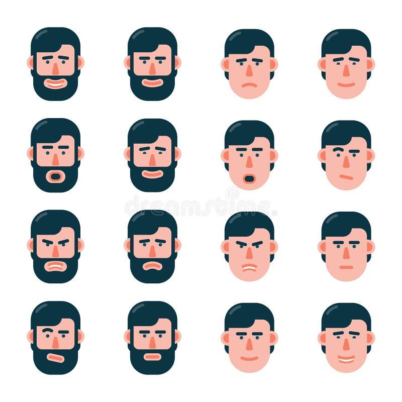 Fije de las emociones de la cara del hombre en estilo plano libre illustration