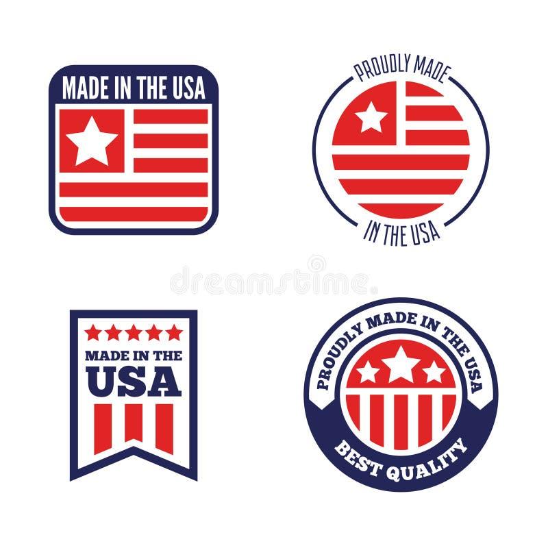 Fije de las etiquetas, del logotipo, de las insignias y de las muestras del vector hechos en los E.E.U.U. stock de ilustración