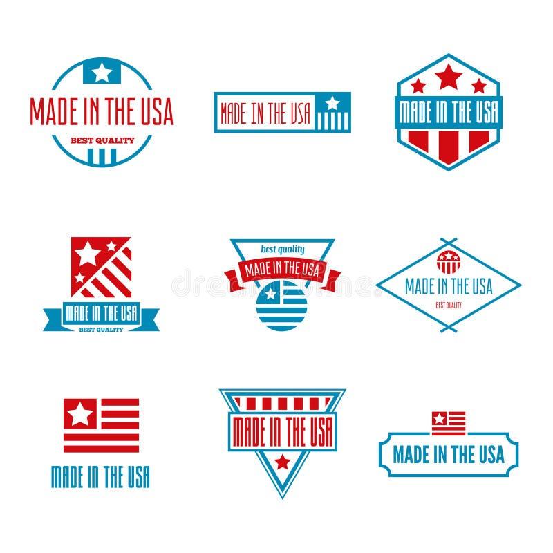 Fije de las etiquetas, del logotipo, de las insignias y de las muestras del vector hechos en los E.E.U.U. ilustración del vector