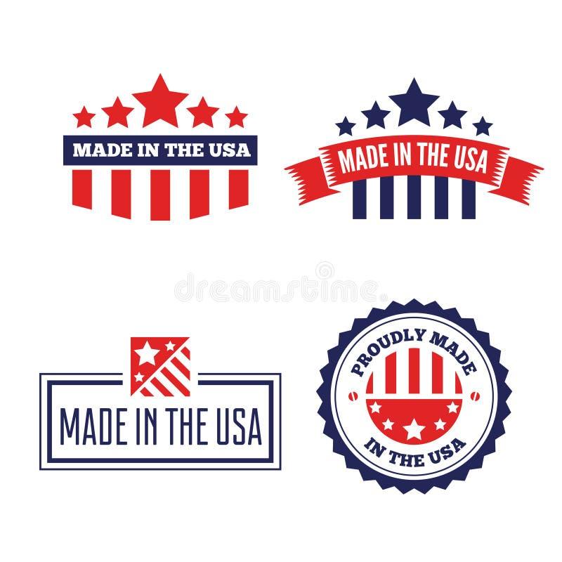 Fije de las etiquetas, del logotipo, de las insignias y de las muestras del vector hechos en los E.E.U.U. libre illustration