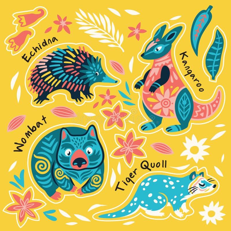 Fije de las etiquetas engomadas australianas decorativas de los animales, insignias, iconos, remiendos, elementos del diseño Ilus stock de ilustración
