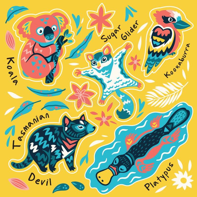 Fije de las etiquetas engomadas australianas decorativas de los animales, insignias, iconos, remiendos, elementos del dise?o Ilus ilustración del vector