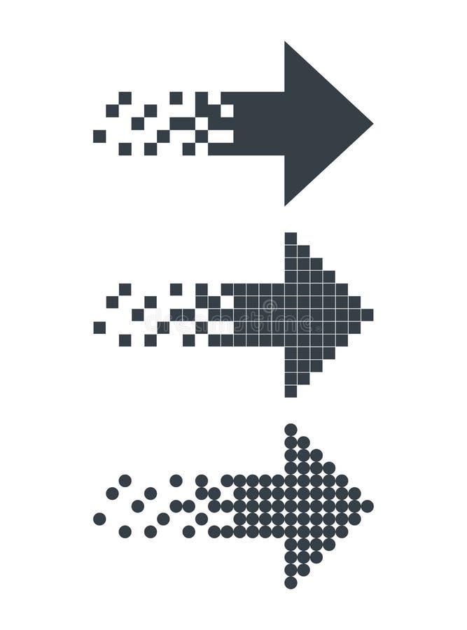Fije de las flechas abstractas negras de la web del pixel aisladas en blanco ilustración del vector
