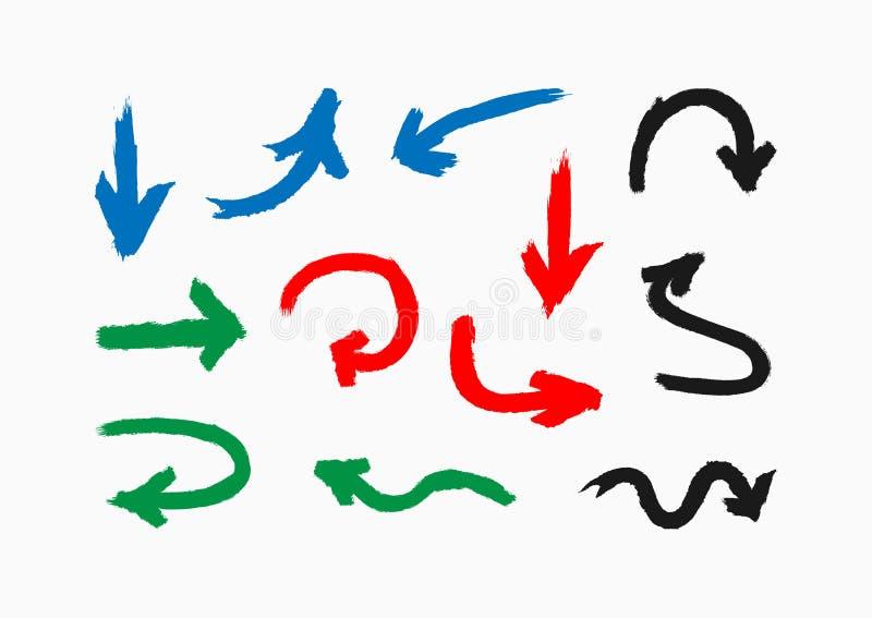 Fije de las flechas coloreadas dibujadas a mano con un cepillo áspero Colección de indicadores coloreados Grunge, pintada, bosque ilustración del vector