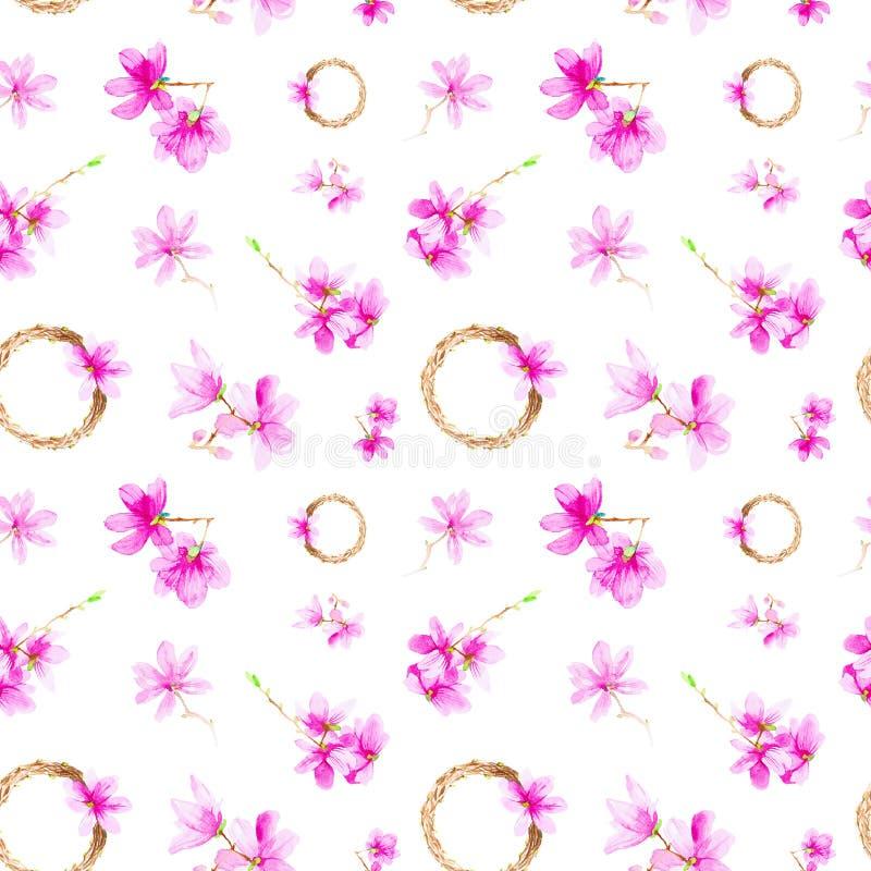 Fije de las flores, de las ramitas y de la guirnalda del ciruelo Ejemplo de la acuarela aislado en el fondo blanco Modelo incons? imagen de archivo