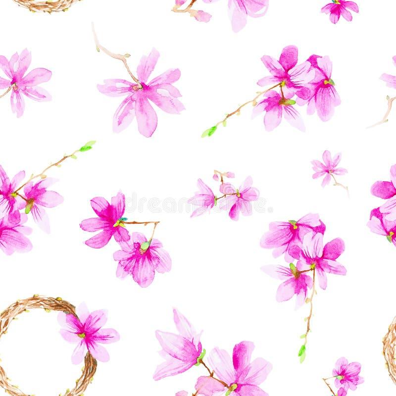 Fije de las flores, de las ramitas y de la guirnalda del ciruelo Ejemplo de la acuarela aislado en el fondo blanco Modelo incons? imágenes de archivo libres de regalías