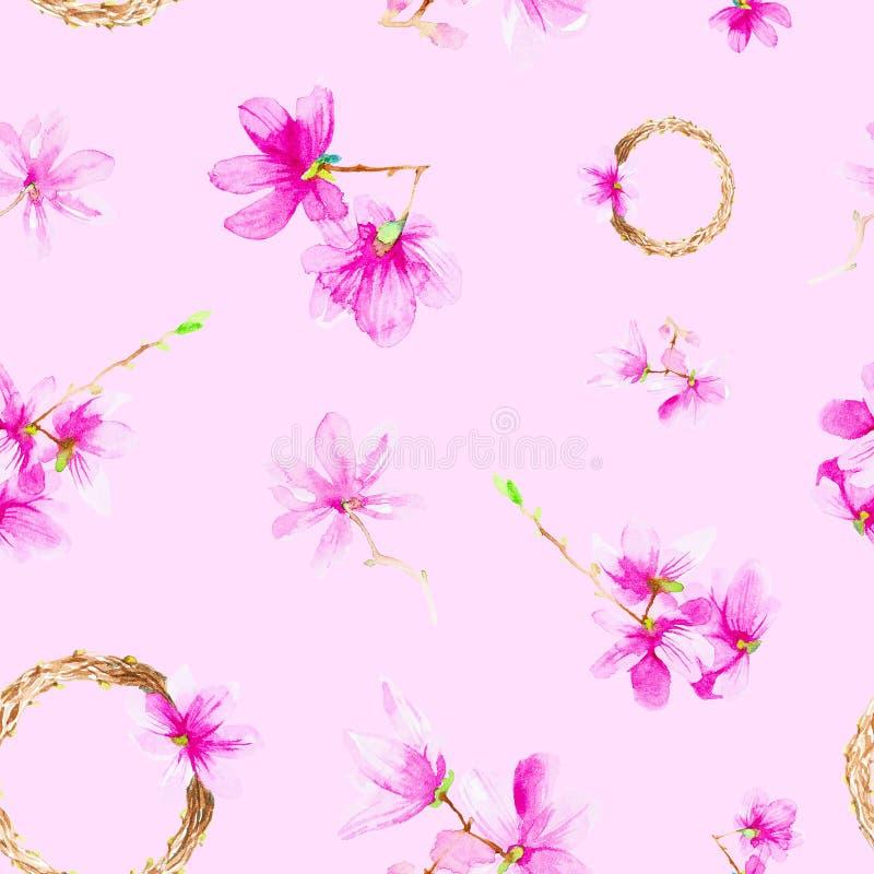 Fije de las flores, de las ramitas y de la guirnalda del ciruelo Ejemplo de la acuarela aislado en fondo rojo Modelo incons?til imagen de archivo libre de regalías