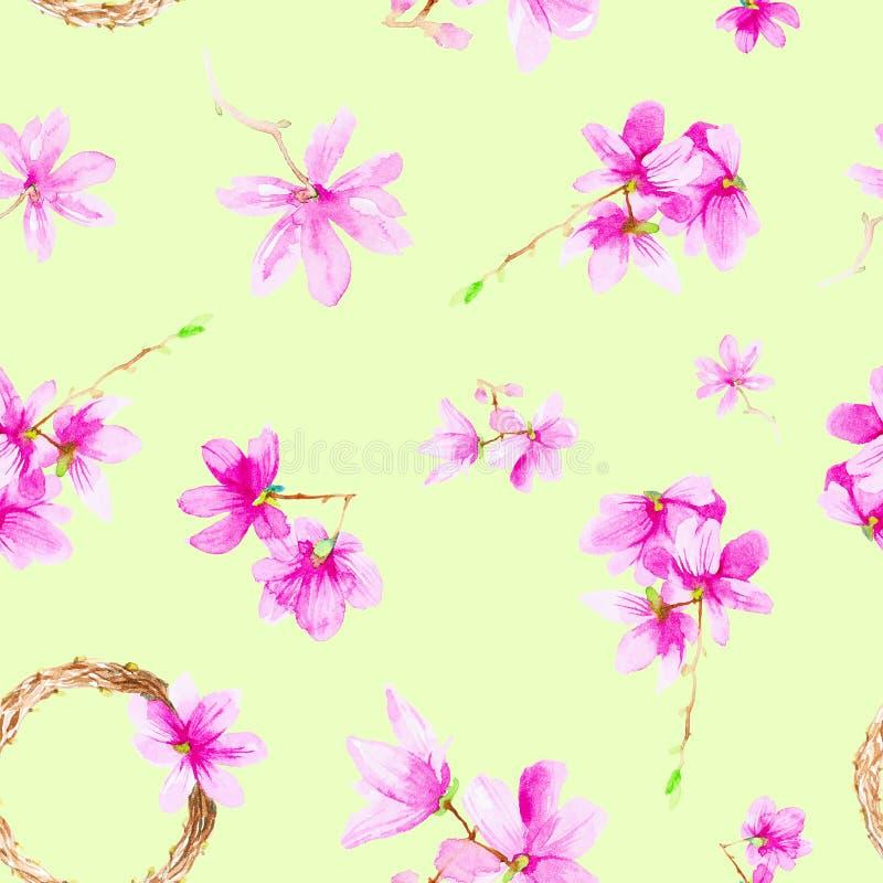 Fije de las flores, de las ramitas y de la guirnalda del ciruelo Ejemplo de la acuarela aislado en fondo verde Modelo incons?til foto de archivo libre de regalías