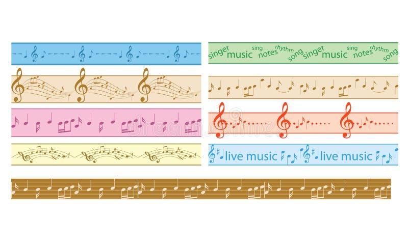 Fije de las fronteras inconsútiles coloridas del vector con las notas de la música - marcos coloreados ilustración del vector