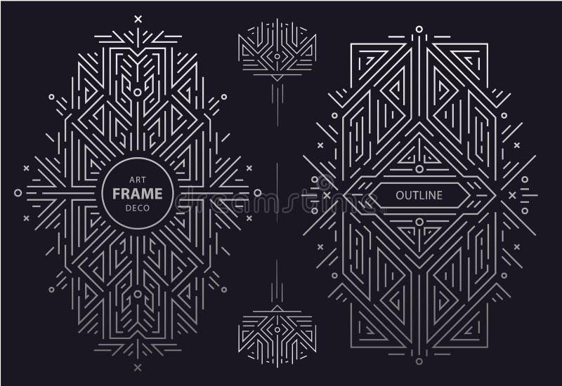 Fije de las fronteras de oro del art déco del vector, marco Plantillas creativas en el estilo de los a?os 20 cubierta de moda, ca ilustración del vector