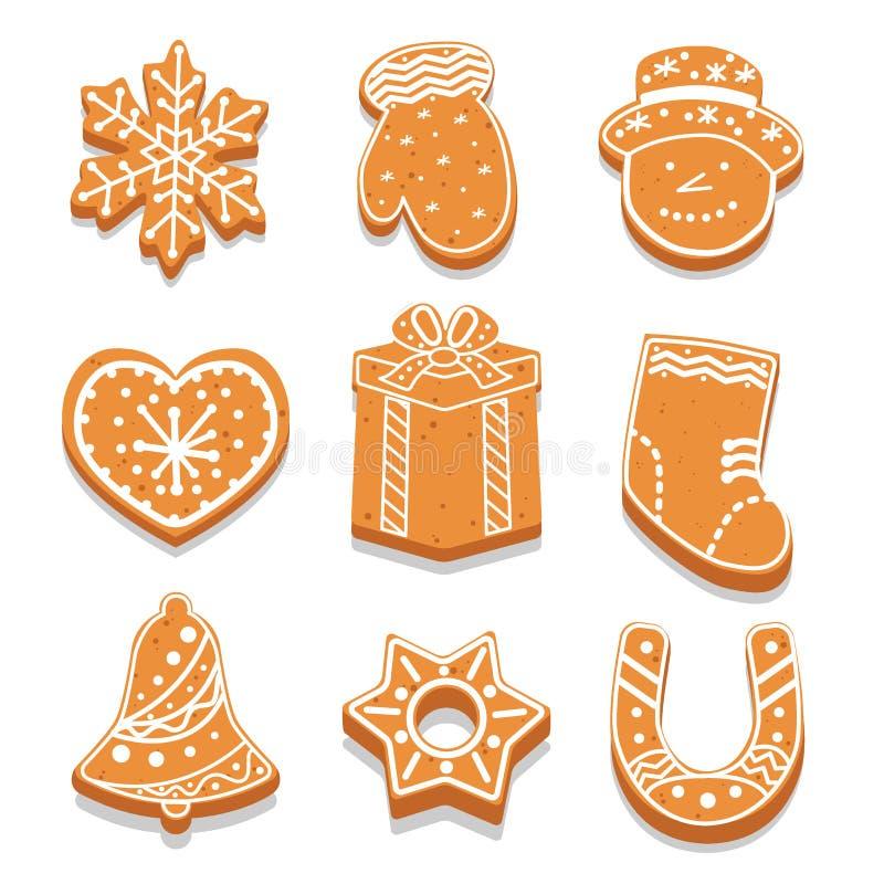 Fije de las galletas adornadas diversa forma, invitación del día de fiesta, copo de nieve, manopla, muñeco de nieve, corazón, vec ilustración del vector