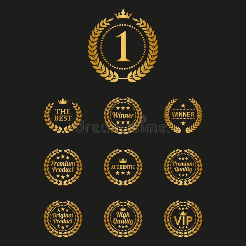 Fije de las guirnaldas de oro del laurel en fondo negro ilustración del vector