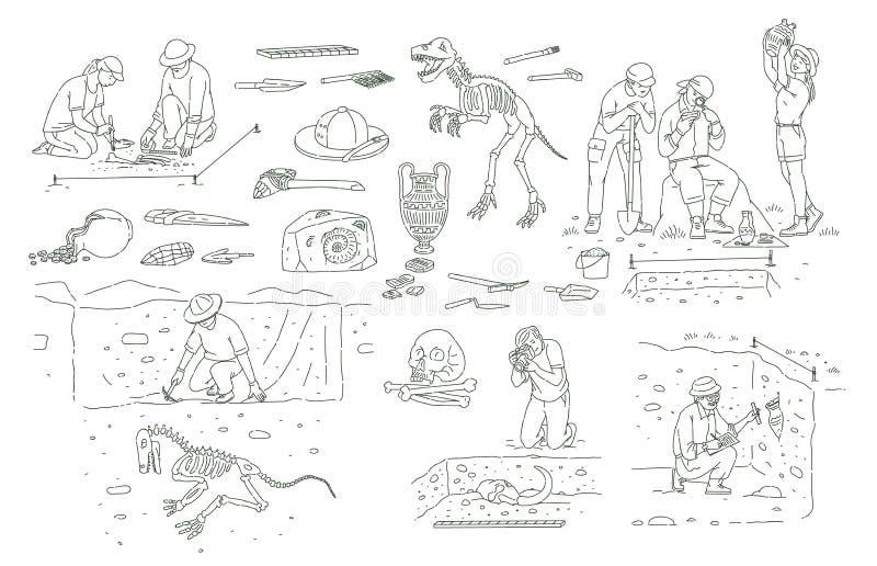 Fije de las herramientas y de la gente de la arqueología que trabajan en estilo del bosquejo del esquema de la excavación stock de ilustración