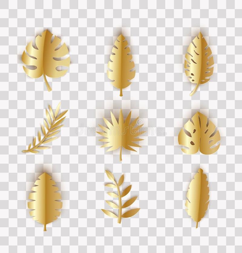 Fije de las hojas tropicales del verano del oro en el estilo cortado de papel Colección de las plantas de la selva del arte en fo stock de ilustración