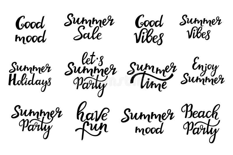 Fije de las inscripciones dibujadas mano del verano deletreado libre illustration
