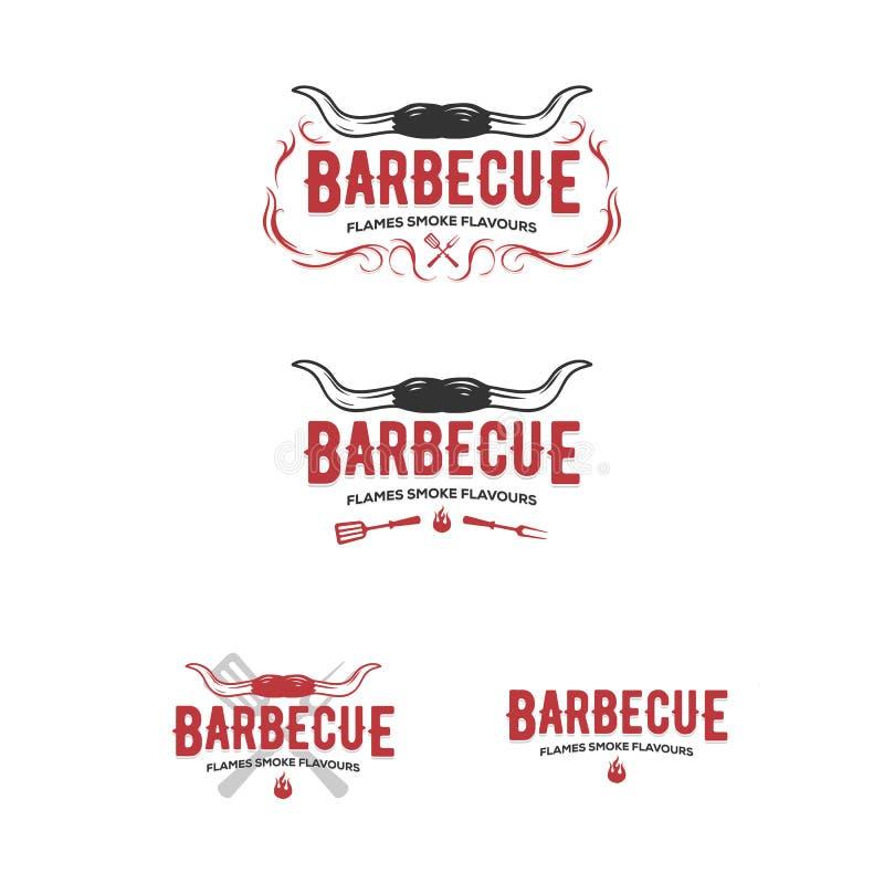Fije de las insignias de la parrilla y de la barbacoa, etiquetas engomadas, emblemas ilustración del vector