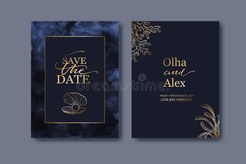 Fije de las invitaciones de boda, invitación Colada azul de la acuarela Conchas marinas exhaustas de la mano con textura de oro ilustración del vector