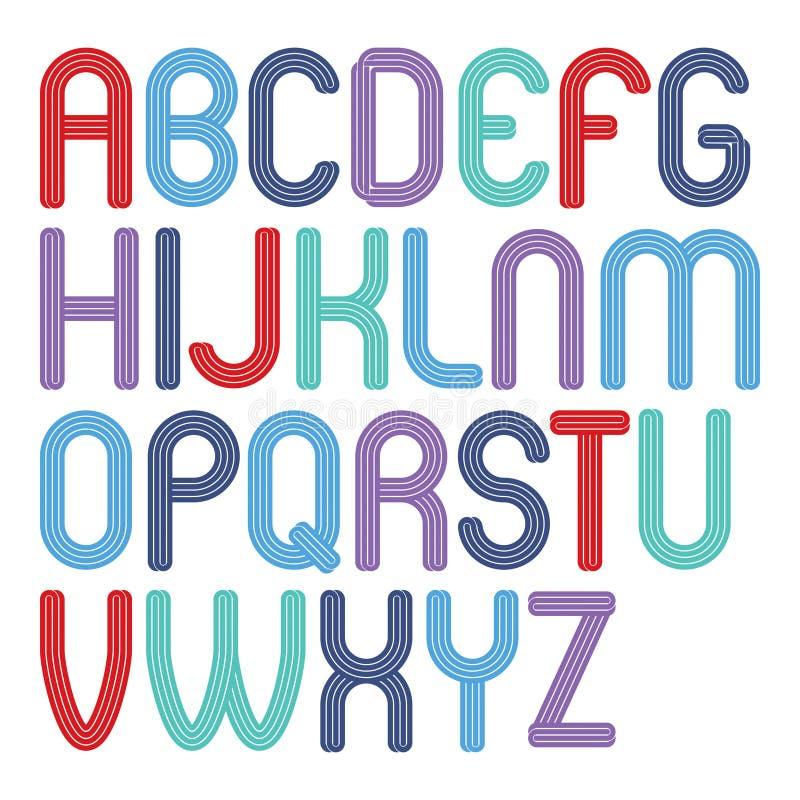 Fije de las letras enrrolladas mayúsculas del alfabeto inglés del vector brillante aisladas, para el uso en el diseño del logotip libre illustration