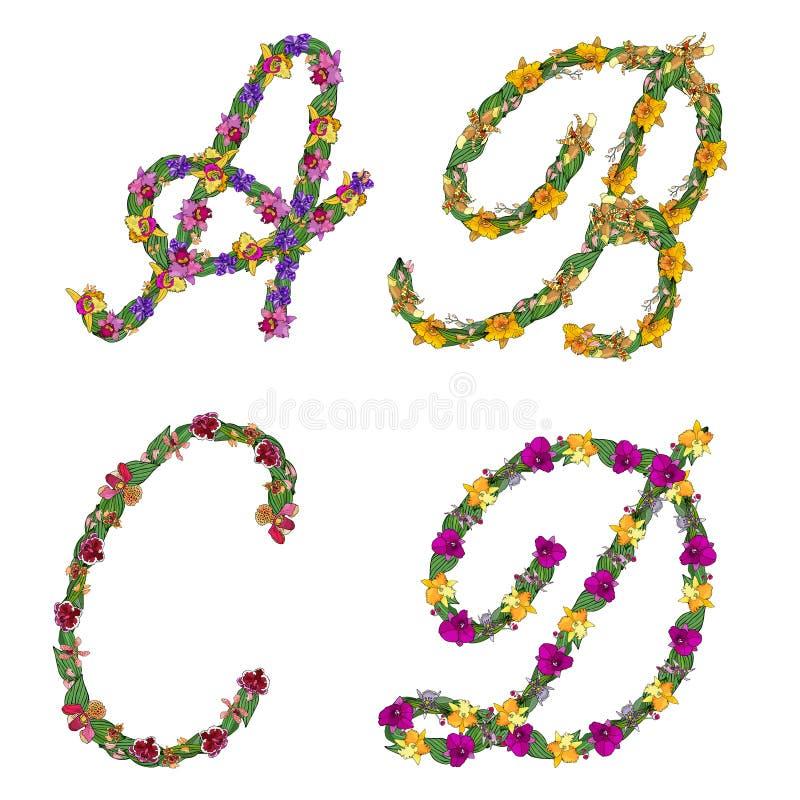 Fije de las letras florales A, B, C, D del alfabeto de los elementos, hecha con las hojas y las flores de las orquídeas libre illustration