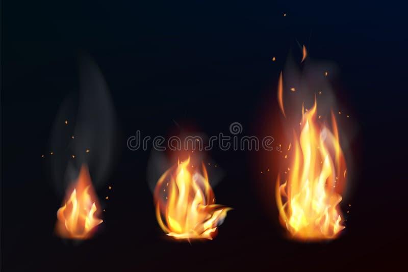 Fije de las llamas realistas del fuego en fondo oscuro Ilustraci?n aislada del vector stock de ilustración