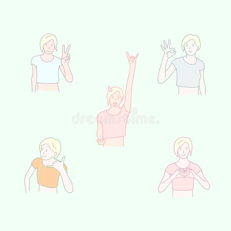 Fije de las muchachas que toman diversos gestos de mano Estilo dibujado mano ilustración del vector