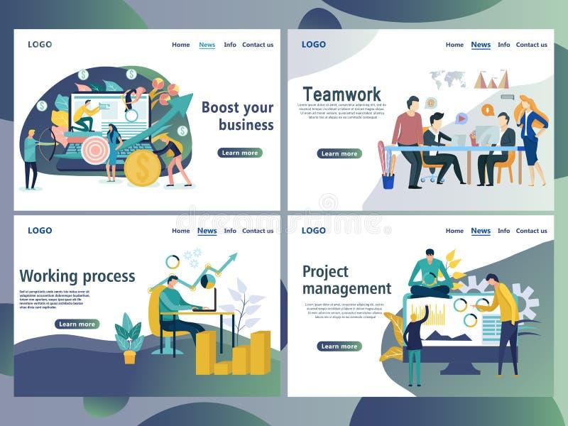 Fije de las plantillas del diseño de la página web para el negocio ilustración del vector