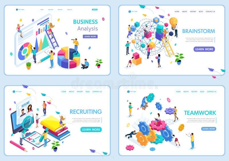 Fije de las plantillas del diseño de la página web para el negocio, intercambio de ideas, trabajo en equipo, reclutando, análisis libre illustration