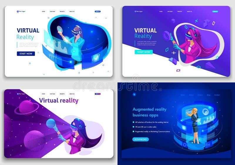 Fije de las plantillas del dise?o de la p?gina web para el negocio y de los juegos, concepto de realidad aumentada y vertical Con ilustración del vector