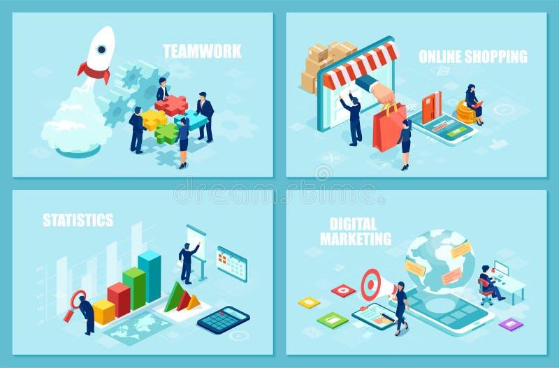 Fije de las plantillas isométricas del diseño del vector para las compras en línea, la estrategia de lanzamiento y los analytics  stock de ilustración